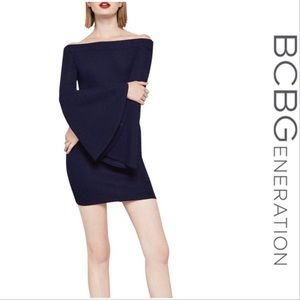 NWT BCGeneration Blue Off Should Bell Sleeve Dress